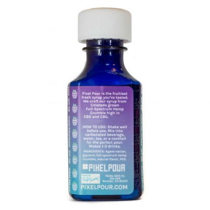 Pixel Pour Full Spectrum Syrup - Blue Raspberry - Back - 200mg